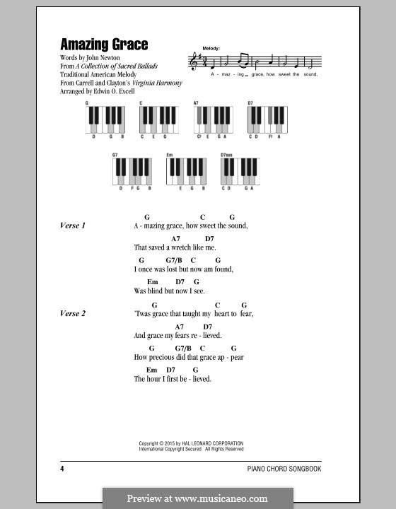 Amazing Grace (Printable Scores): Text und Akkorde by folklore