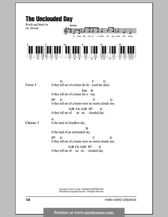 The Unclouded Day (from Heavenly Home: Three American Songs): Text und Akkorde by J.K. Alwood