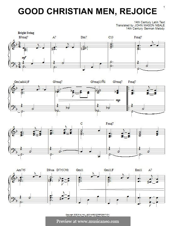 Good Christian Men, Rejoice: Für Klavier by folklore