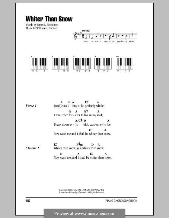 Whiter Than Snow: Text und Akkorde by William G. Fischer