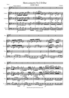 Concerto for Horn and Strings Nr.2 in D-Dur, Hob.VIId/4: Score and all parts by Joseph Haydn