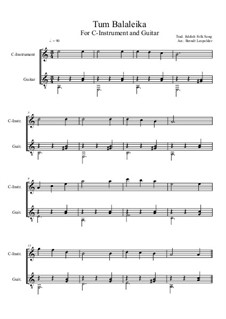 Tum Balalaika: For C-instrument and guitar by folklore