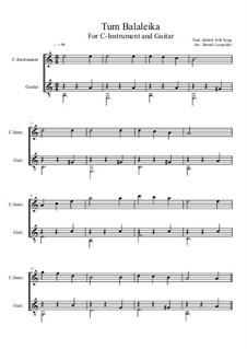 Tum Balalaika: For C-instrument and guitar (easy version) by folklore
