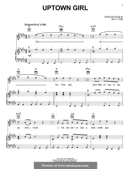 Uptown Girl: Für Stimme und Klavier (oder Gitarre) by Billy Joel
