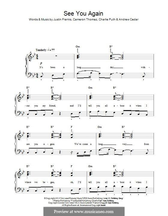 See You Again (Wiz Khalifa feat. Charlie Puth): Für Klavier by Justin Franks, Wiz Khalifa, Andrew Cedar, Charlie Puth