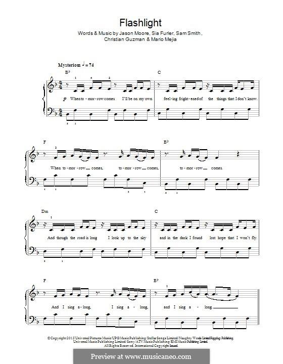 Flashlight (from Pitch Perfect 2): Für Klavier by Samuel Smith, Sia Furler, Christian Guzman, Jason Moore, Mario Mejia
