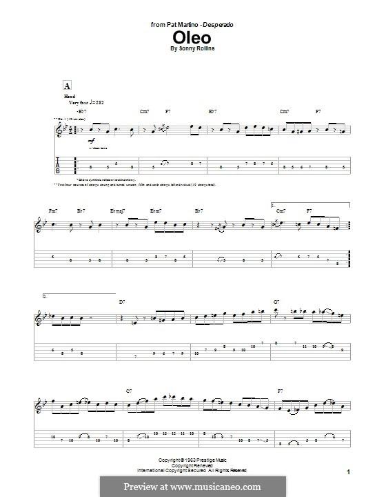 Oleo: Für Gitarre mit Tabulatur by Sonny Rollins