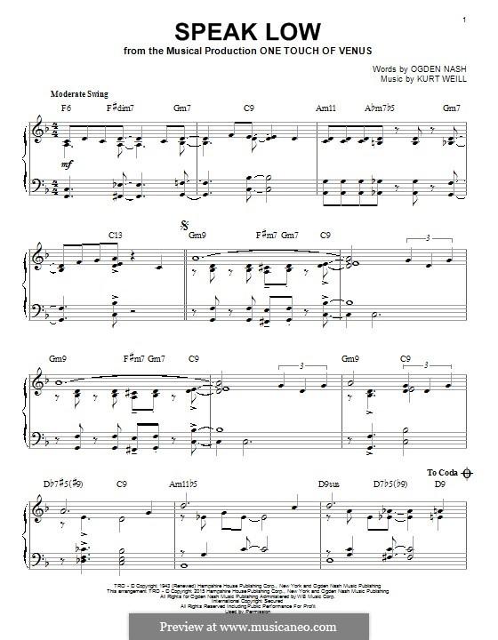 Speak Low: Für Klavier by Kurt Weill