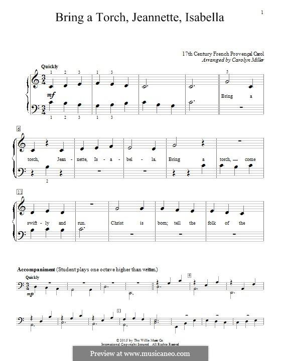 Bring a Torch, Jeanette Isabella: Für Klavier by folklore