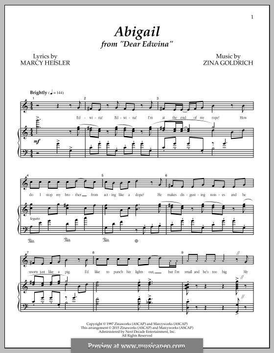 Abigail (from 'Dear Edwina'): Für Stimme und Klavier by Zina Goldrich