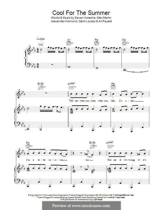 Cool for the Summer: Für Stimme und Klavier (oder Gitarre) by Alexander Kronlund, Demi Lovato, Max Martin, Savan Kotecha, Ali Payami