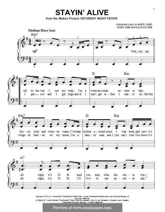 Stayin' Alive (The Bee Gees): Für Klavier by Barry Gibb, Maurice Gibb, Robin Gibb