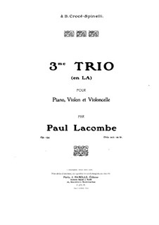 Klaviertrio Nr.3 in a-Moll, Op.134: Vollpartitur by Paul Lacombe