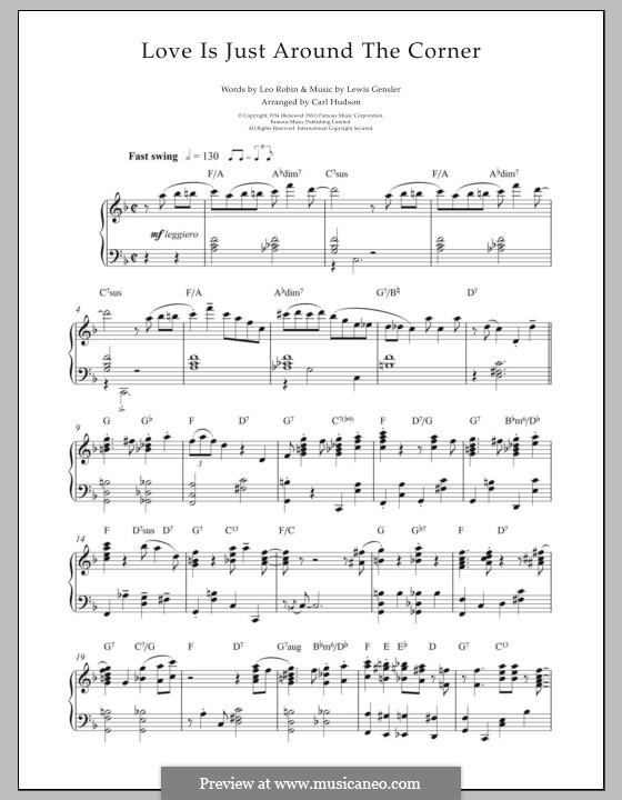 Love Is Just Around the Corner (Coleman Hawkins): Für Klavier by Leo Robin, Lewis E. Gensler