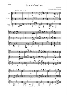 Vier deutsche Volkslieder für Alt, Tenor und Klavier: Kein schöner Land, for flute, alto flute and guitar by folklore