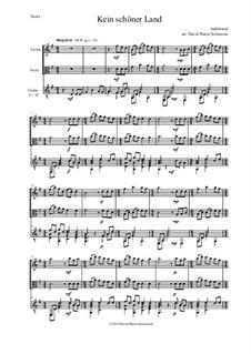 Vier deutsche Volkslieder für Alt, Tenor und Klavier: Kein schöner Land, for violin, viola and guitar by folklore