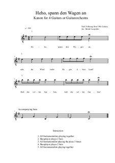 Heho, spann den Wagen an: For four guitars or guitarorchestra (e minor) by folklore