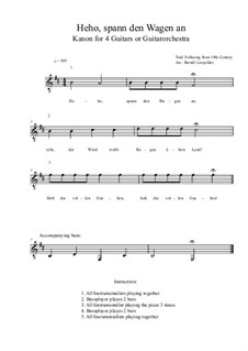 Heho, spann den Wagen an: For four guitars or guitarorchestra (b minor) by folklore