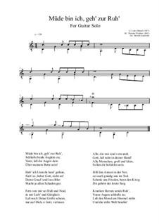 Müde bin ich, geh zur Ruh': For guitar solo by Theodor Fliedner
