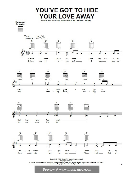 You've Got to Hide Your Love Away (The Beatles): Für Gitarre mit Tabulatur by John Lennon, Paul McCartney