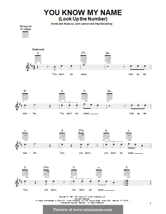 You Know My Name (Look Up the Number): Für Gitarre mit Tabulatur by John Lennon, Paul McCartney