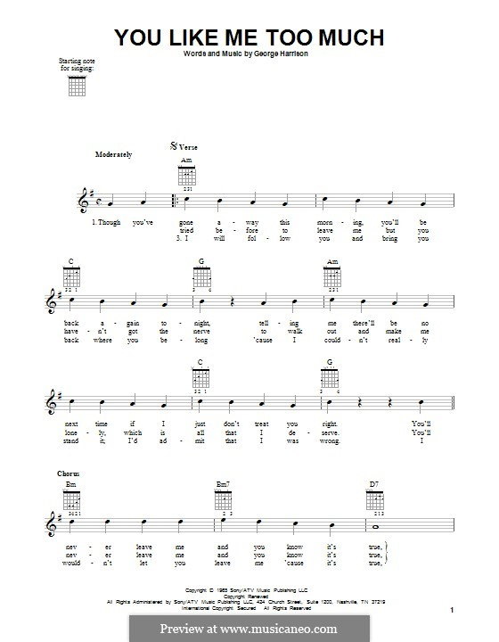 You Like Me Too Much (The Beatles): Für Gitarre mit Tabulatur by George Harrison
