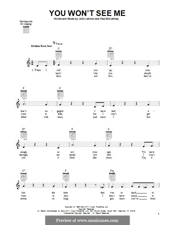 You Won't See Me (The Beatles): Für Gitarre mit Tabulatur by John Lennon, Paul McCartney