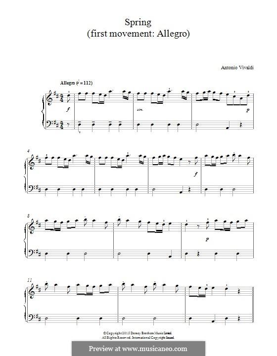Violin Concerto No.1 in E Major 'La primavera' (Printable Scores): Movement I. Fragment, for piano by Antonio Vivaldi