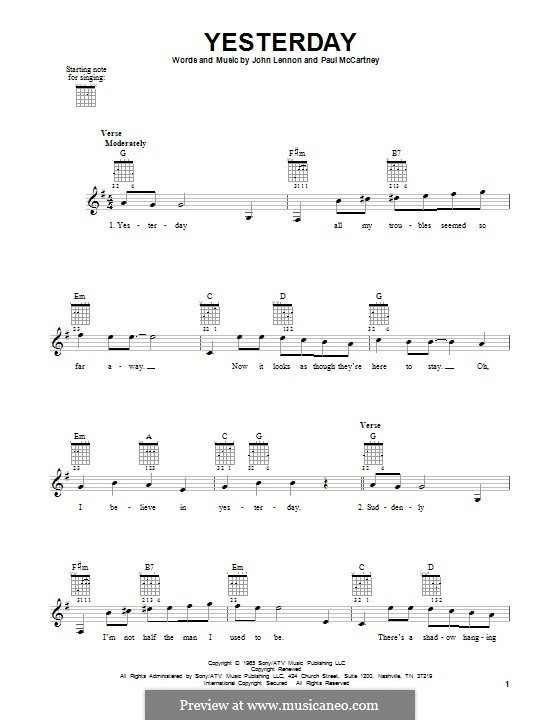 Yesterday (The Beatles): Für Gitarre mit Tabulatur by John Lennon, Paul McCartney