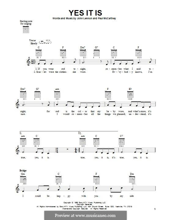 Yes It Is (The Beatles): Für Gitarre mit Tabulatur by John Lennon, Paul McCartney