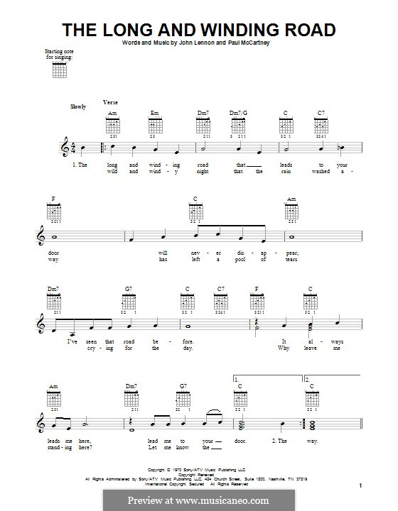 The Long and Winding Road (The Beatles): Für Gitarre mit Tabulatur by John Lennon, Paul McCartney
