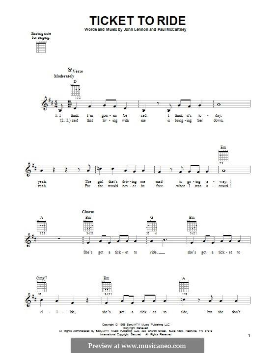 Ticket to Ride (The Beatles): Für Gitarre mit Tabulatur by John Lennon, Paul McCartney