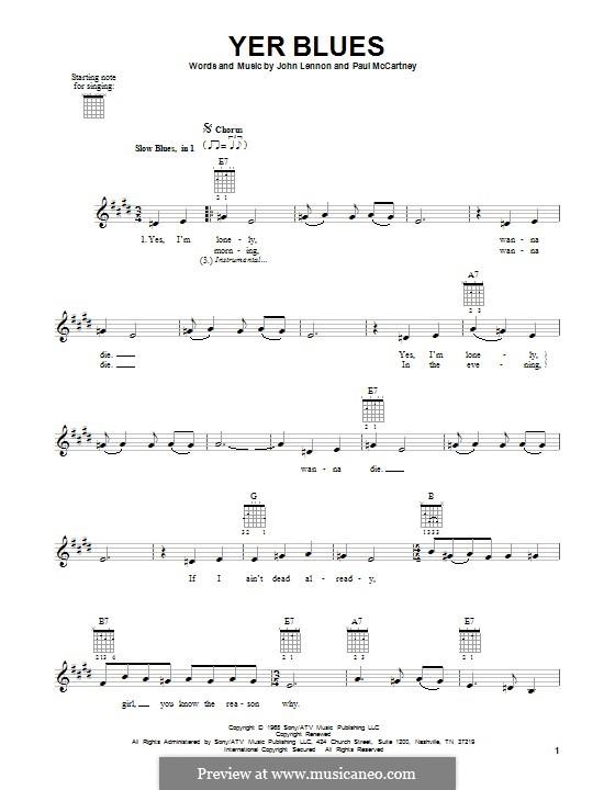 Yer Blues (The Beatles): Für Gitarre mit Tabulatur by John Lennon, Paul McCartney