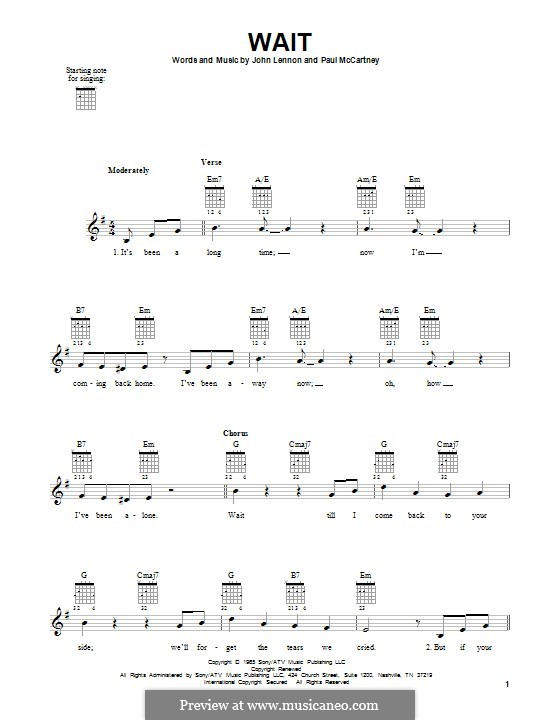 Wait (The Beatles): Für Gitarre mit Tabulatur by John Lennon, Paul McCartney