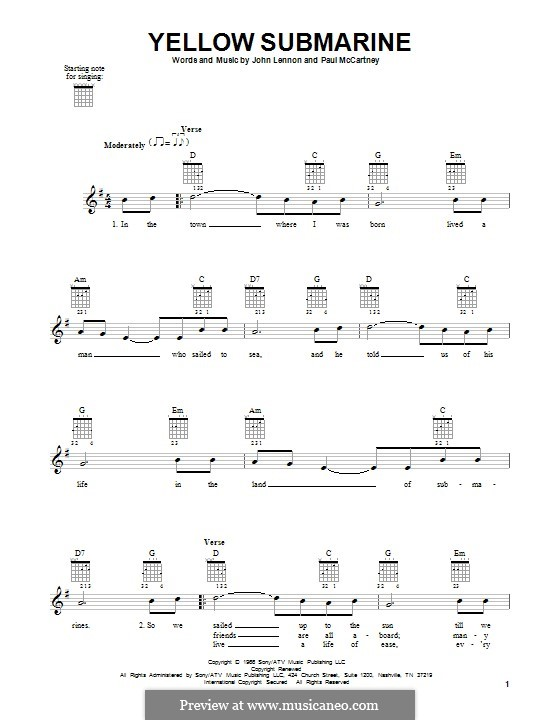 Yellow Submarine (The Beatles): Für Gitarre mit Tabulatur by John Lennon, Paul McCartney