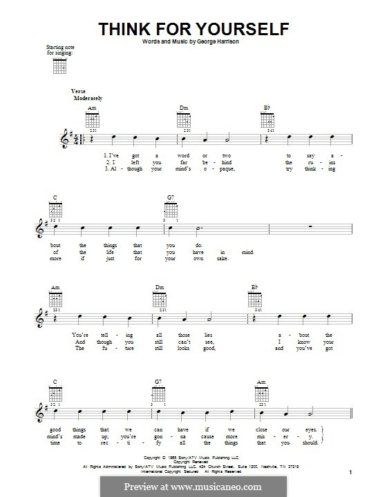Think for Yourself (The Beatles): Für Gitarre mit Tabulatur by George Harrison