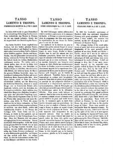 Symphonische Dichtung Nr.2 'Tasso' für Orcherster, S.96: Vollpartitur by Franz Liszt