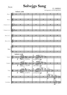Suite Nr.2, Op.55: Solveig's Song – score and parts by Edvard Grieg