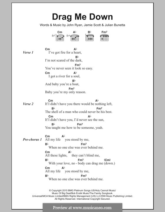 Drag Me Down (One Direction): Text und Akkorde by Julian Bunetta, Jamie Scott, John Henry Ryan