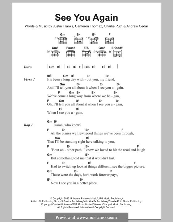 See You Again (Wiz Khalifa feat. Charlie Puth): Text und Akkorde by Justin Franks, Wiz Khalifa, Andrew Cedar, Charlie Puth