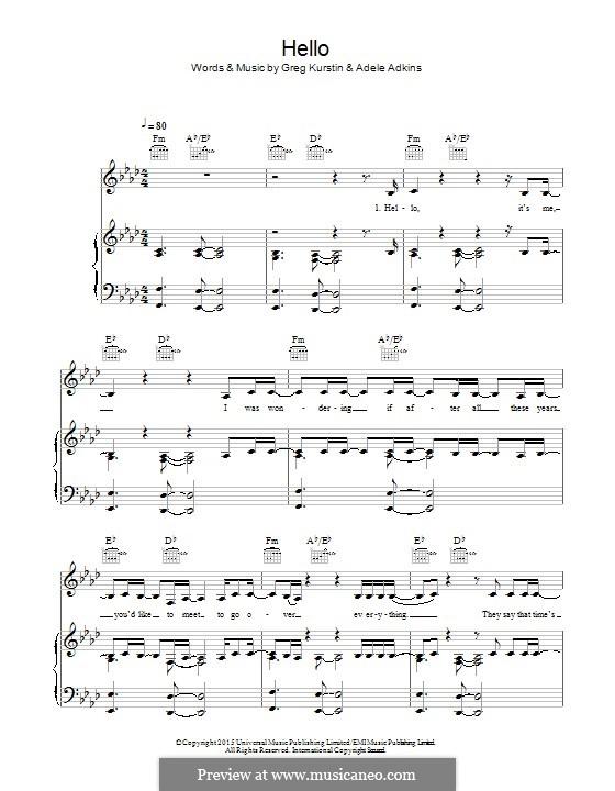 Hello: Für Stimme und Klavier (oder Gitarre) by Adele, Greg Kurstin