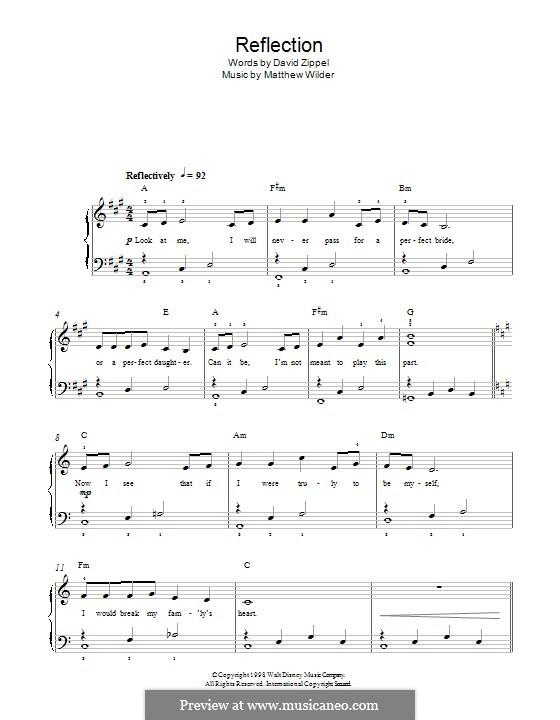 Reflection (from Disney's Mulan): Für Klavier by Matthew Wilder