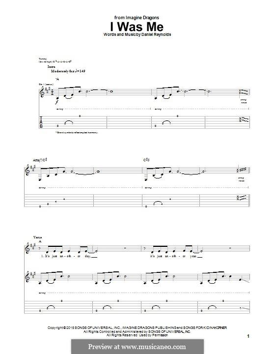 I Was Me: Für Gitarre mit Tabulatur by Daniel Reynolds