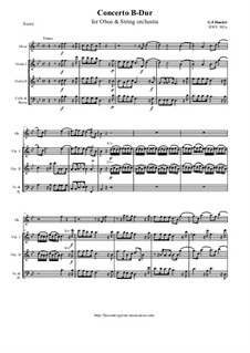 Oboe concerto B-Dur, HWV 302a: Score and all parts by Georg Friedrich Händel