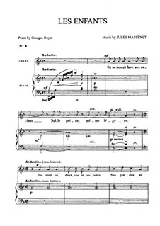 Les enfants: Für Mittelstimme und Klavier by Jules Massenet