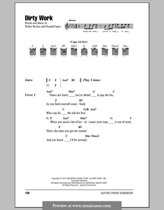 Dirty Work (Steely Dan): Text und Akkorde by Donald Fagen, Walter Becker