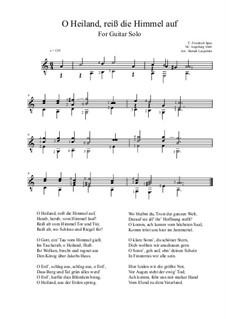 O Heiland, reiß die Himmel auf: Für Gitarre by Unknown (works before 1850)