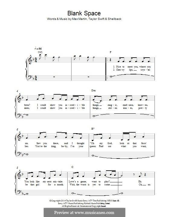 Blank Space: Für Klavier by Shellback, Max Martin, Taylor Swift