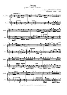 Sonate in D Minor for Oboe/Flute and Guitar (Minus One Option): Sonate in D Minor for Oboe/Flute and Guitar (Minus One Option) by Johann Christoph Pepusch