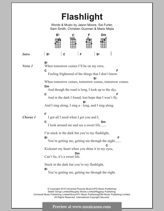 Flashlight (from Pitch Perfect 2): Text und Akkorde by Samuel Smith, Sia Furler, Christian Guzman, Jason Moore, Mario Mejia